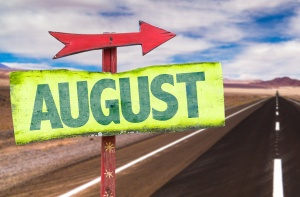August sign with road background